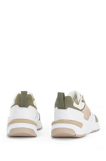 皮革装饰混合材质低调运动鞋,  267_Medium Beige