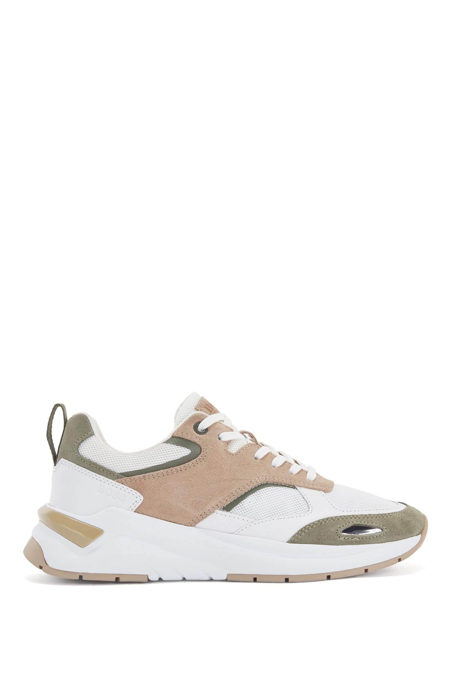 Mixed-material low-profile trainers with leather trims, Beige