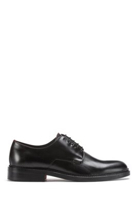 Derby shoes in smooth leather with logo detail, Black