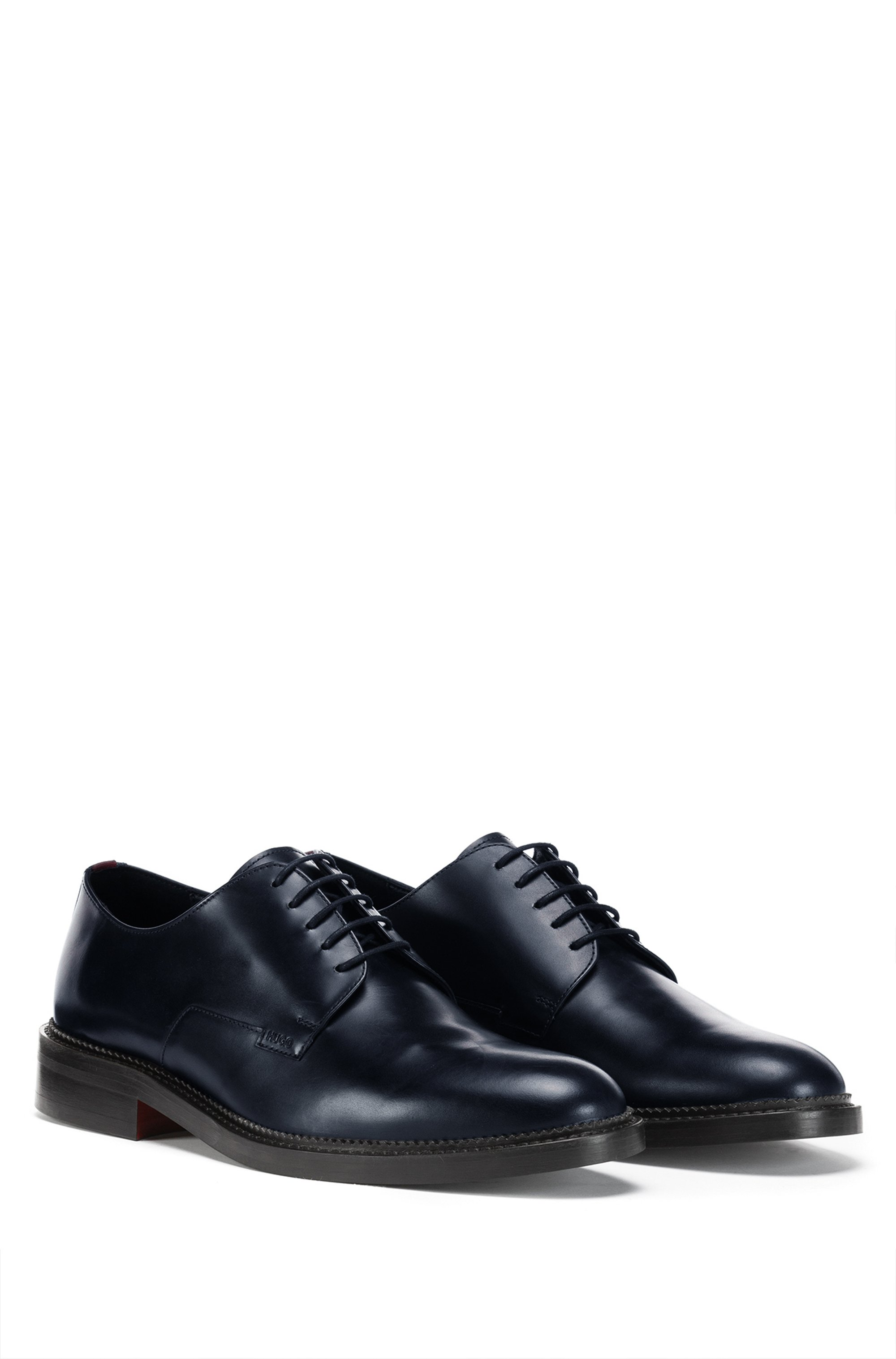 Derby shoes in smooth leather with logo detail