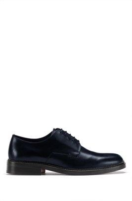 Derbyschoenen van glad leer met logodetail, Donkerblauw