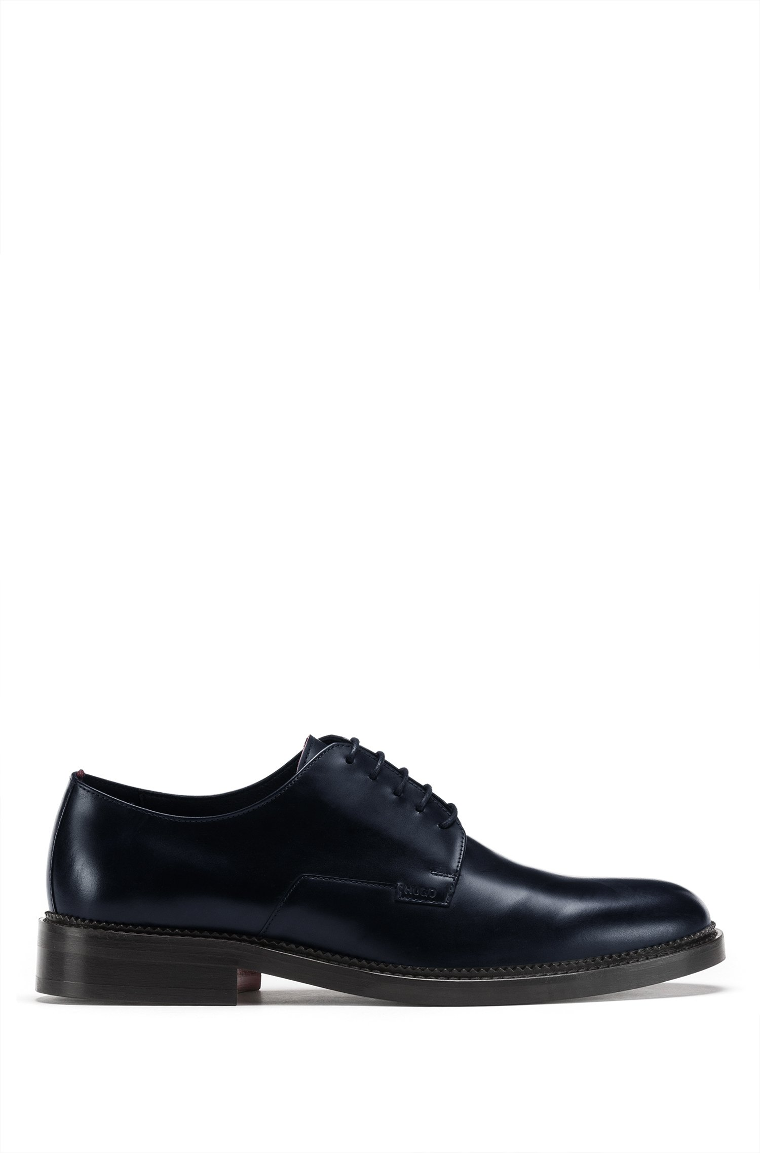 Derby shoes in smooth leather with logo detail, Dark Blue