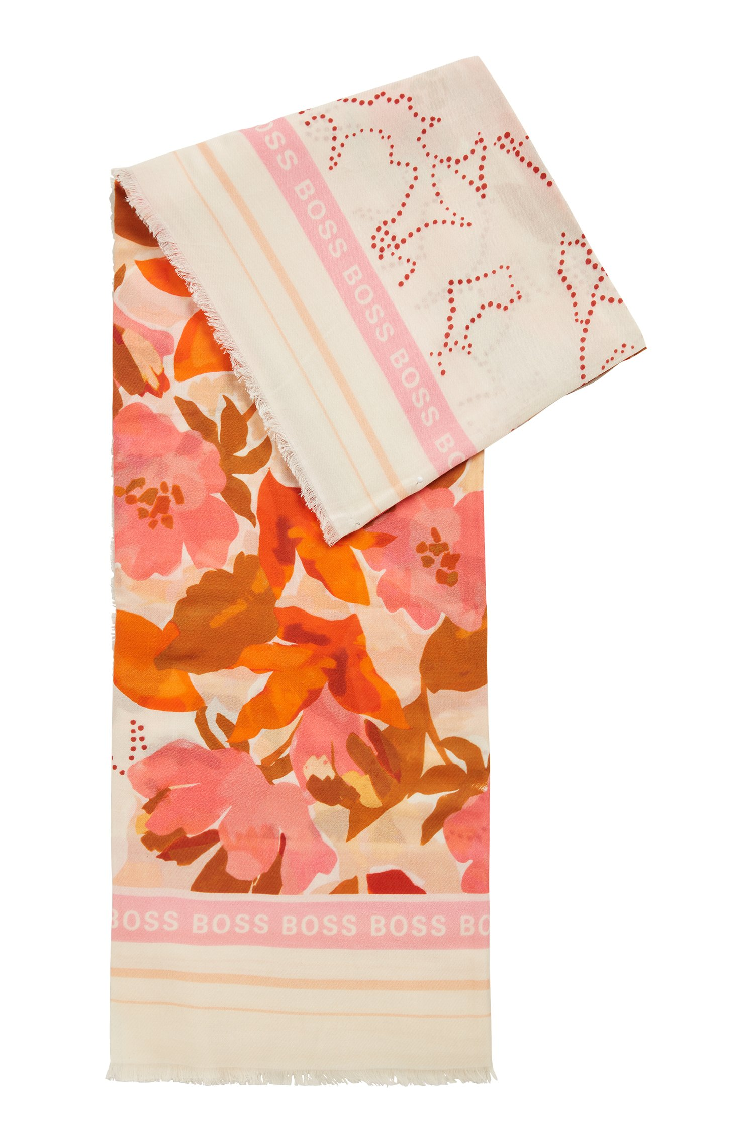 Patterned scarf in cotton and modal, Patterned