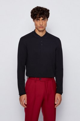 Long-sleeved polo shirt in bubble-structured stretch cotton, Black