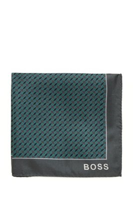 Geometric-print pocket square in silk, Green Patterned