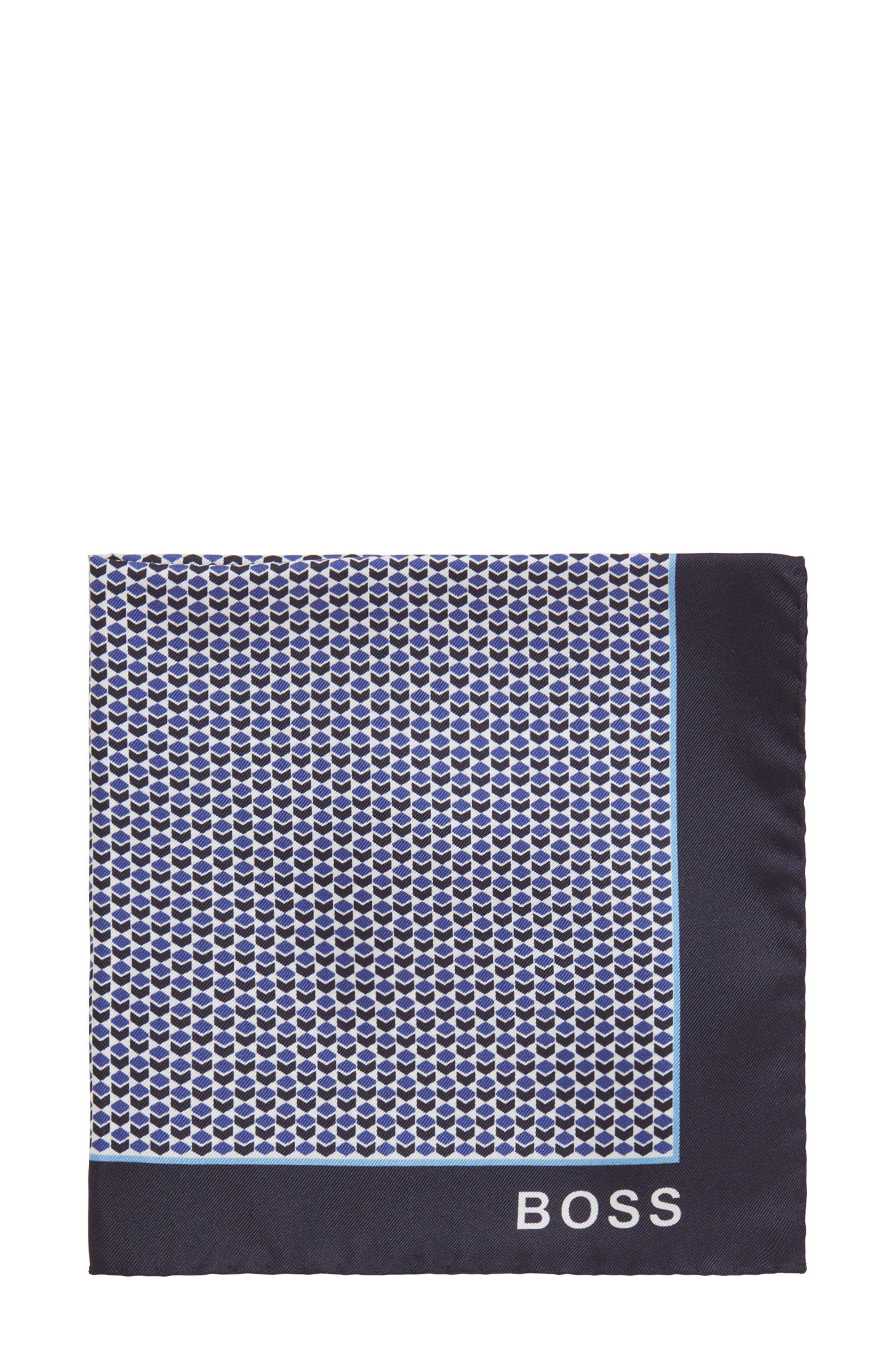 Geometric-print pocket square in silk, Blue Patterned