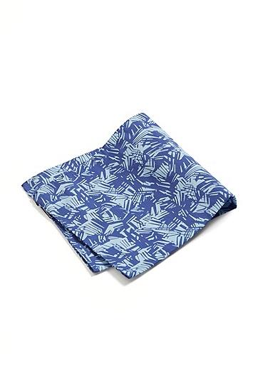 意大利制造棉质真丝混纺图案印花方巾,  428_Medium Blue