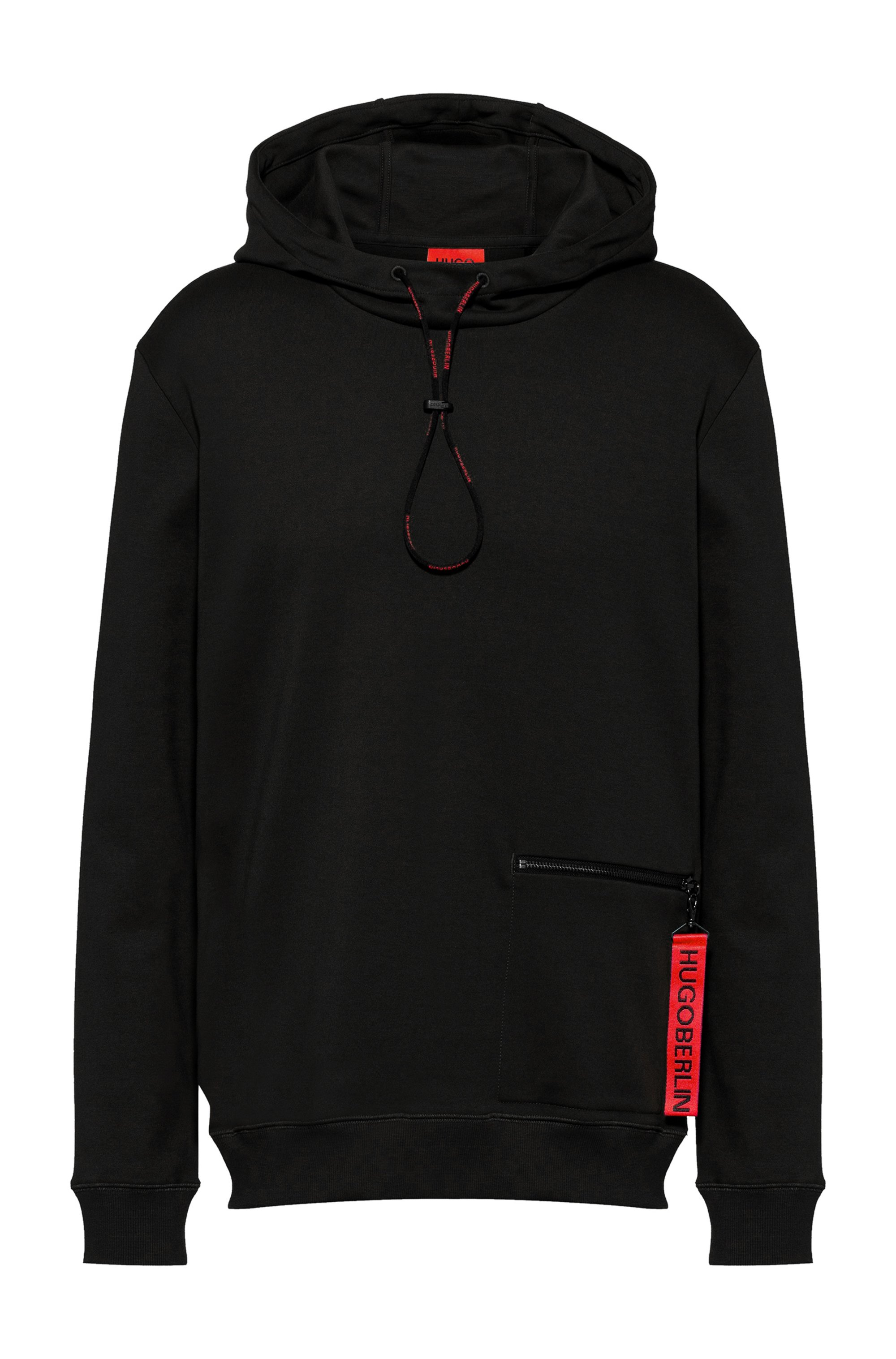 Interlock-cotton hooded sweatshirt with zipped pocket, Black