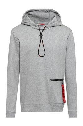Interlock-cotton hooded sweatshirt with zipped pocket, Light Grey