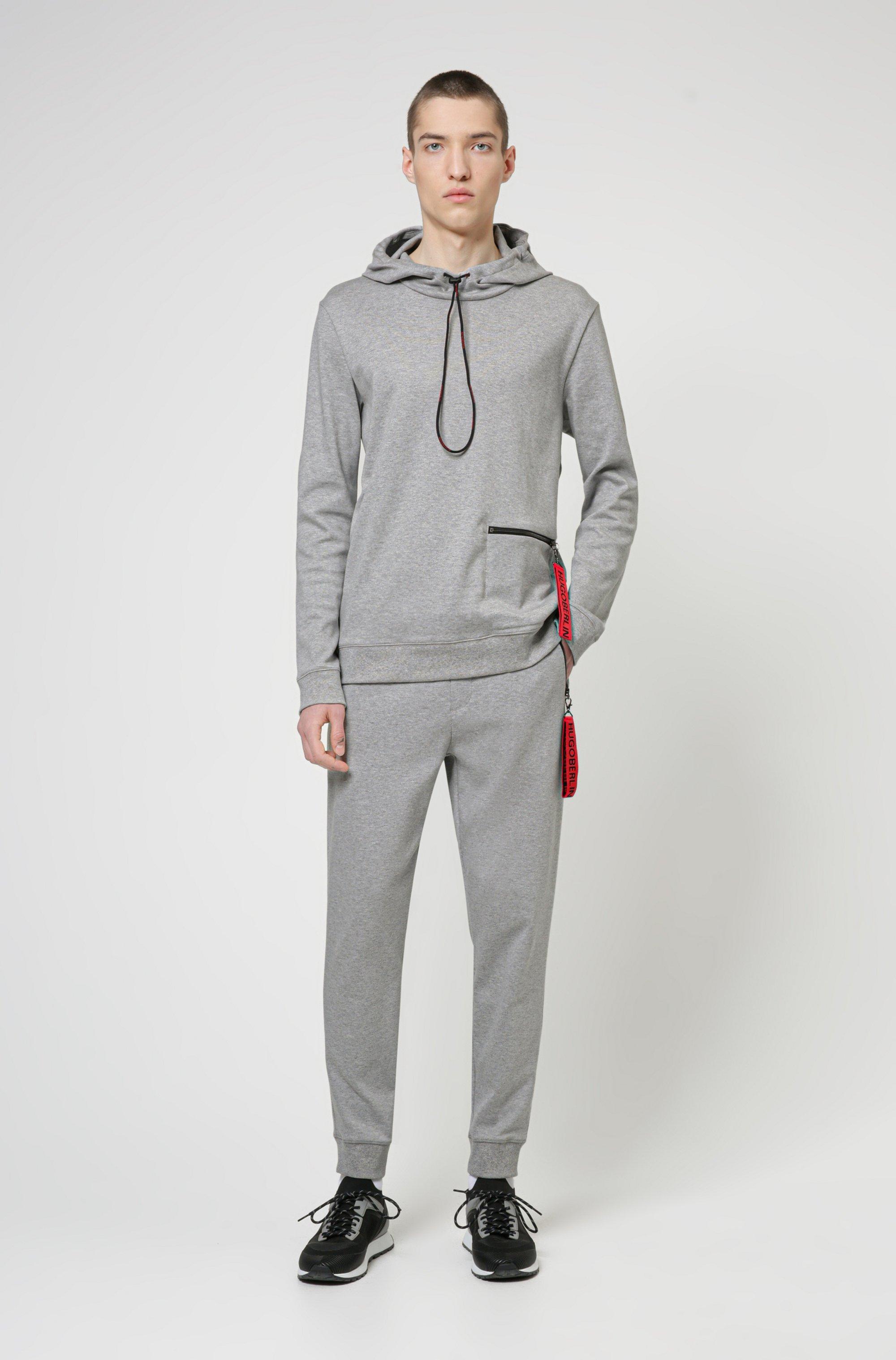 Interlock-cotton hooded sweatshirt with zipped pocket