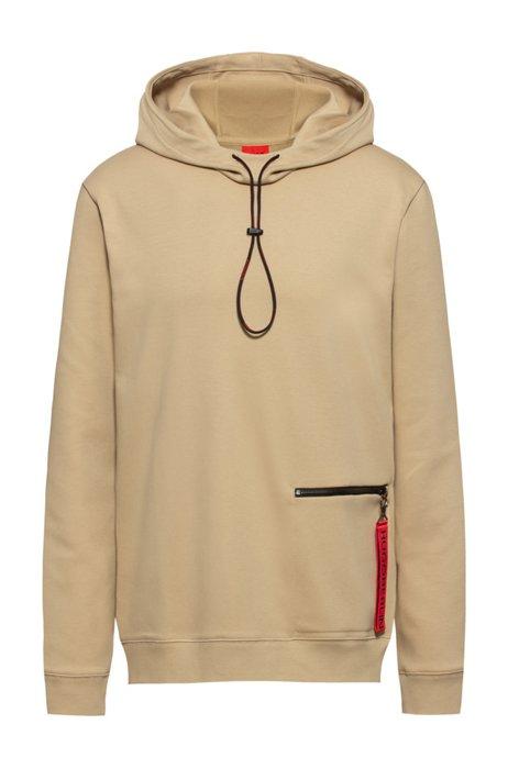 Sweater met capuchon van interlocked katoen met ritszak, Beige