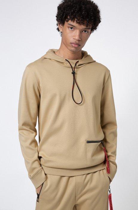 Interlock-cotton hooded sweatshirt with zipped pocket, Beige