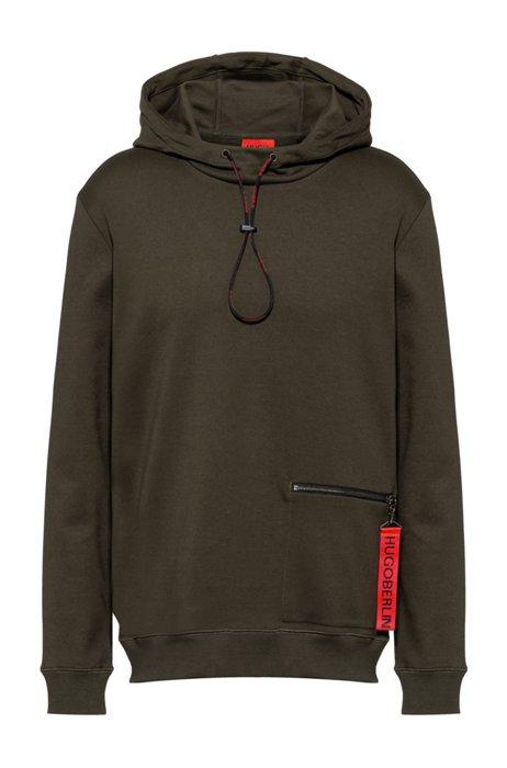 Sweater met capuchon van interlocked katoen met ritszak, Kaki
