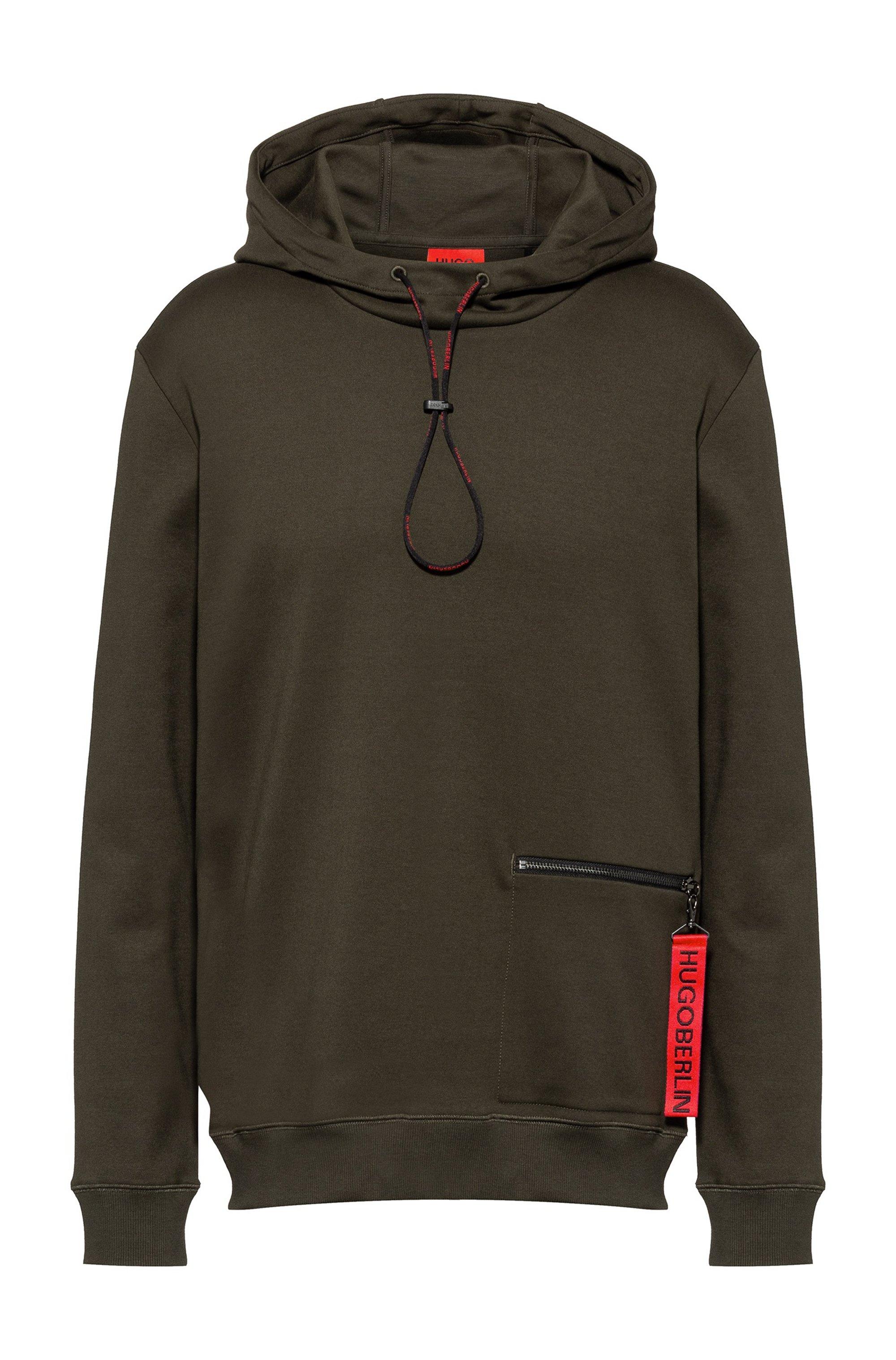 Interlock-cotton hooded sweatshirt with zipped pocket, Khaki