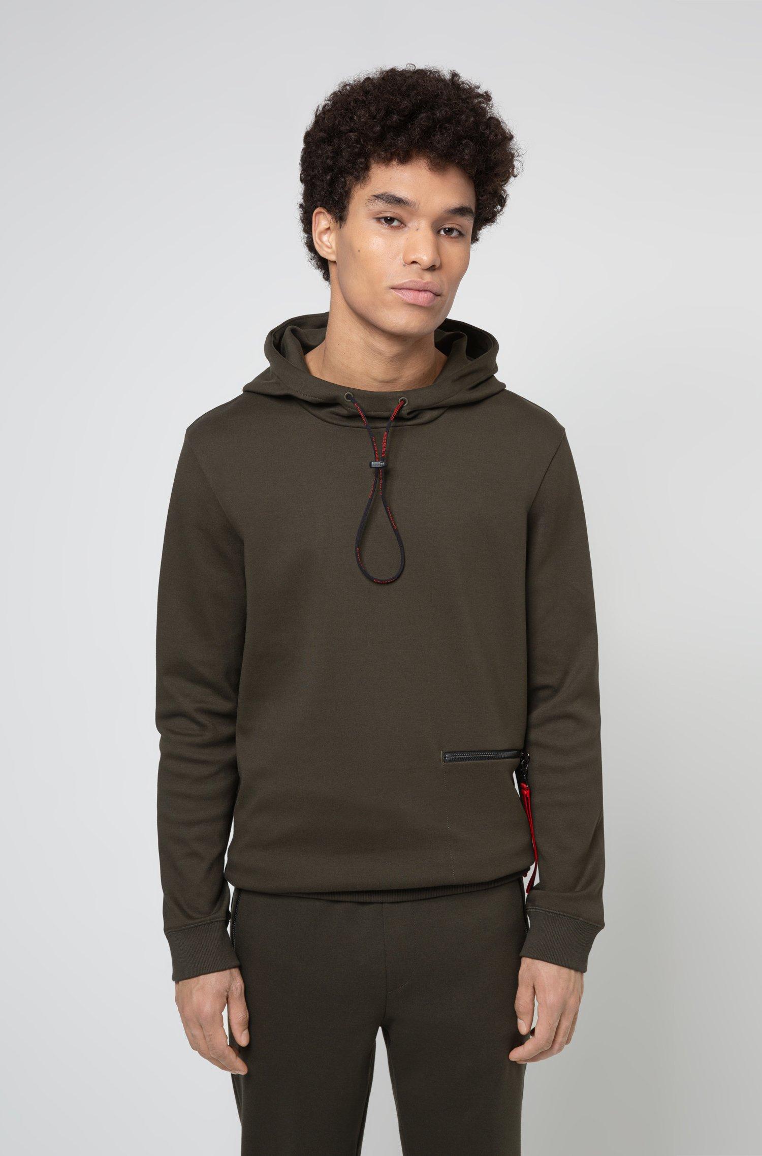 Sweat à capuche en coton interlock avec poche zippée, Kaki