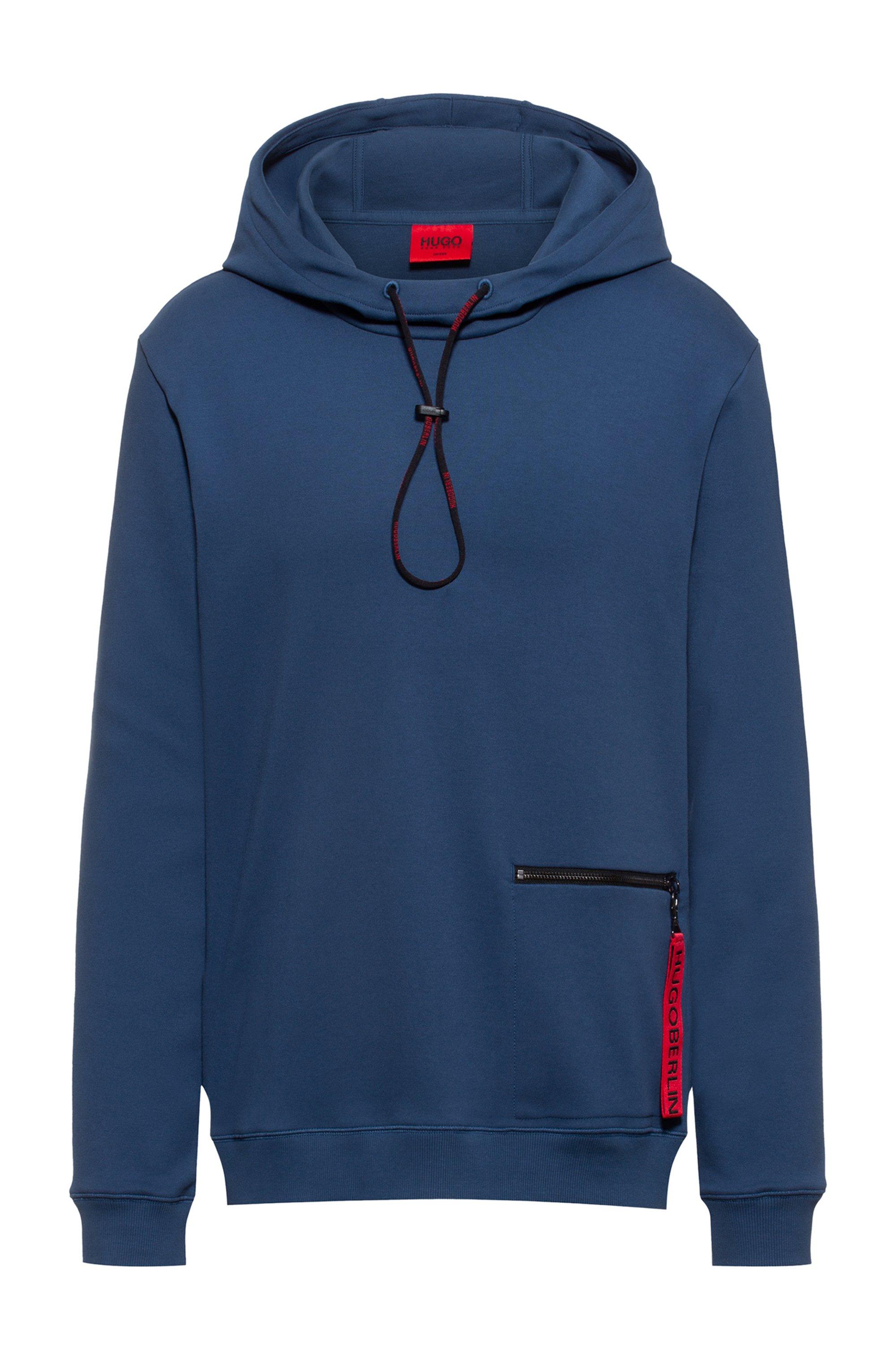 Kapuzen-Sweatshirt aus Interlock-Baumwolle mit Reißverschlusstasche, Dunkelblau