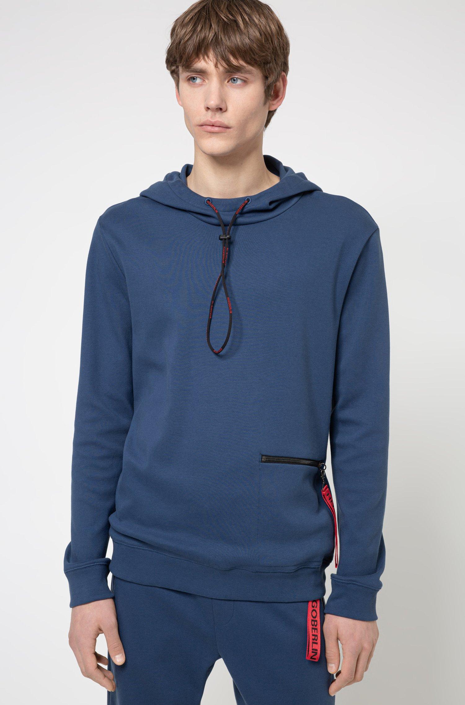 Interlock-cotton hooded sweatshirt with zipped pocket, Dark Blue