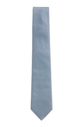 In Italië vervaardigde stropdas van zijde met dessin in jacquard, Lichtblauw
