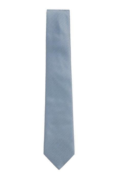 Cravatta in seta con motivo jacquard realizzata in Italia, Celeste