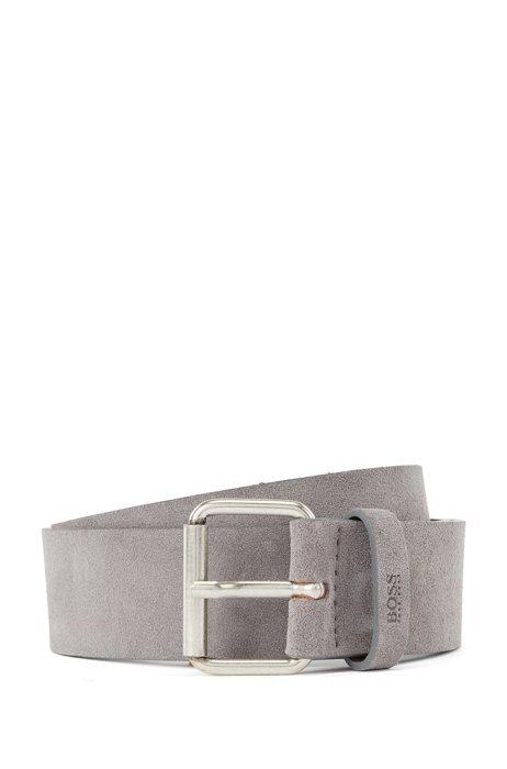 Suede belt with roller buckle and logo keeper, Dark Grey