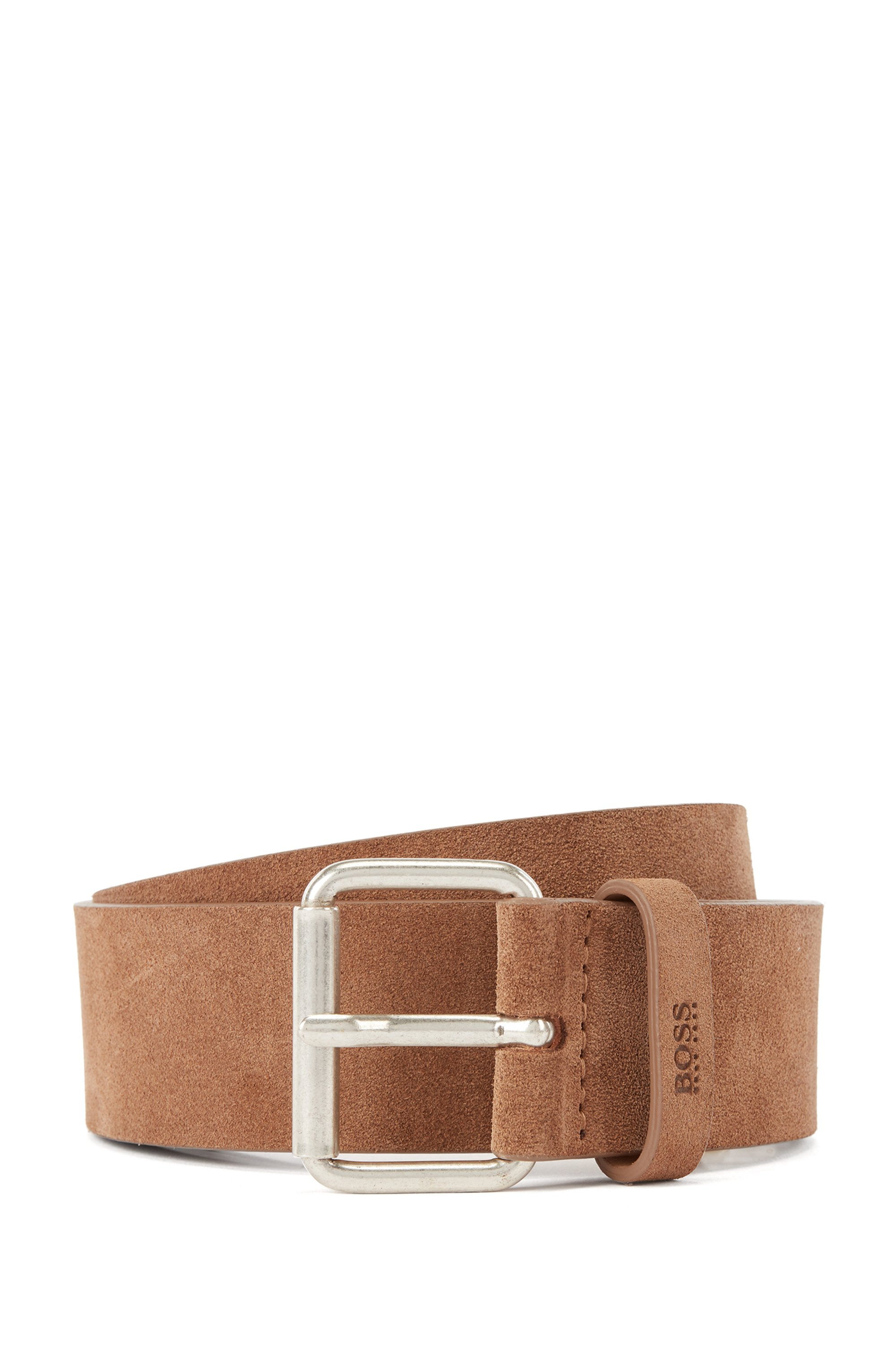 Suede belt with roller buckle and logo keeper, Brown
