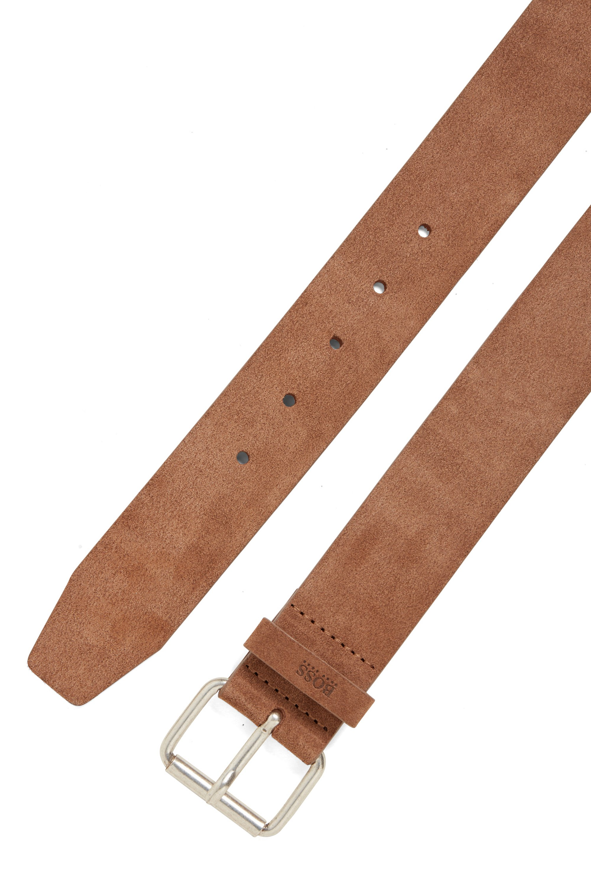 Suede belt with roller buckle and logo keeper