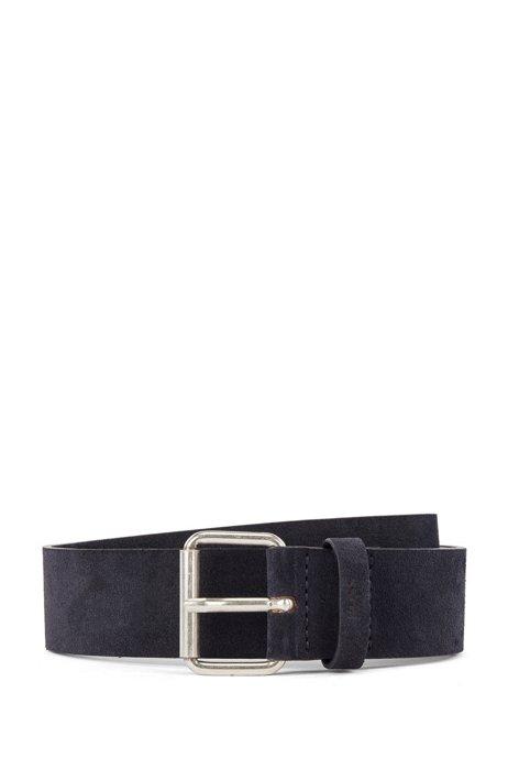 Suede belt with roller buckle and logo keeper, Dark Blue