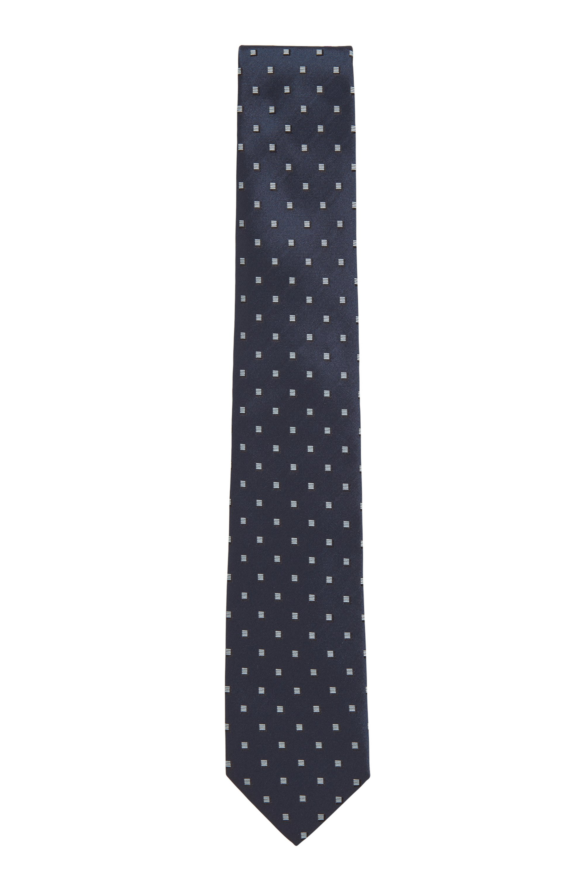 Silk-jacquard tie with all-over pattern, Blue Patterned