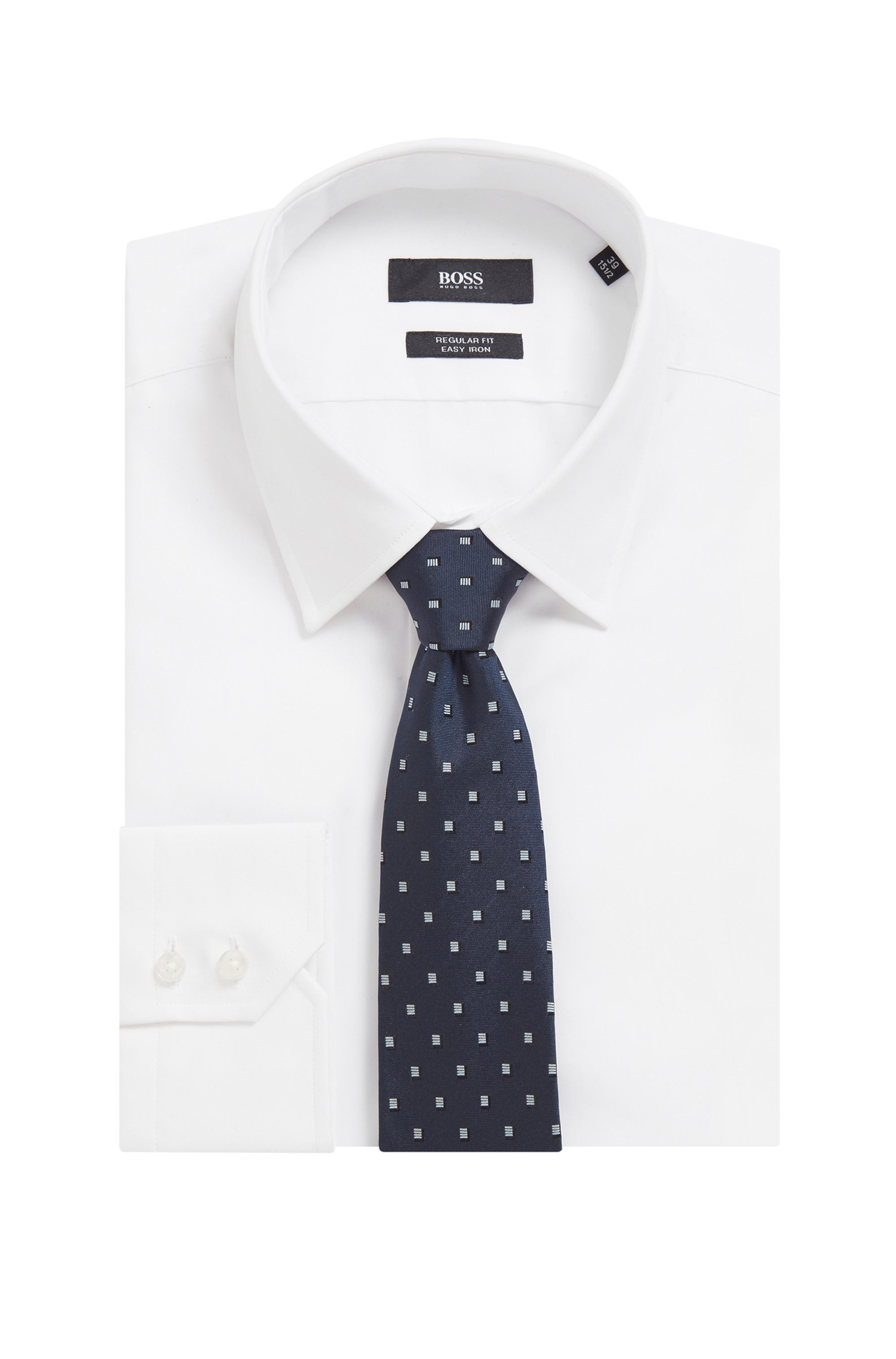 Silk-jacquard tie with all-over pattern