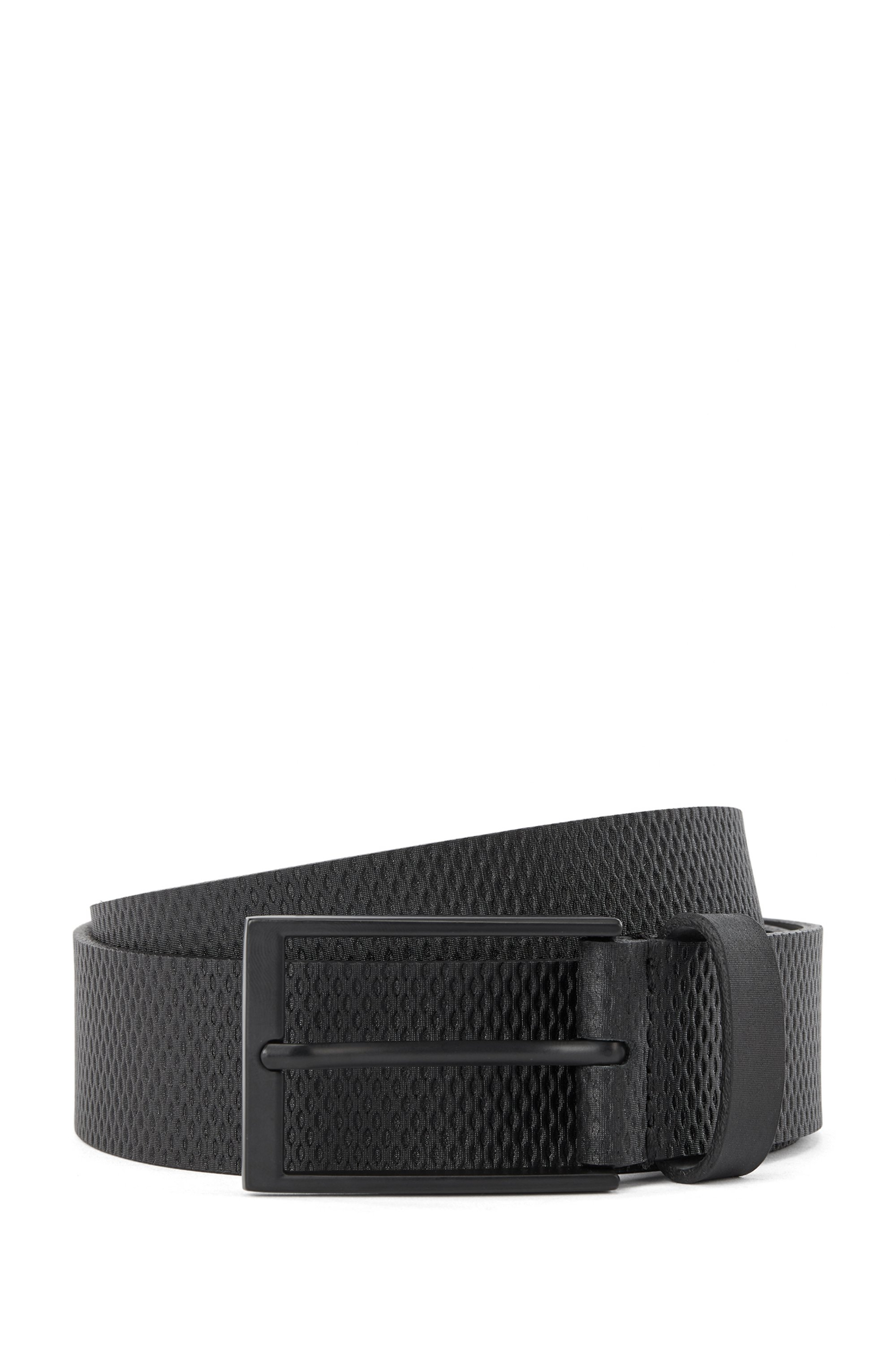 Italian-made belt in structured leather with logo tip, Black