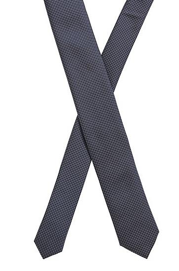意大利制造防水真丝格纹领带,  401_Dark Blue