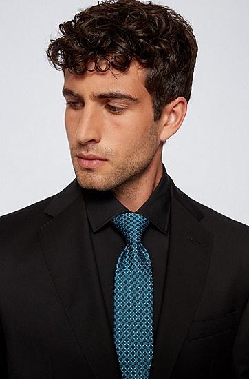 意大利制造防水真丝格纹领带,  447_Turquoise/Aqua