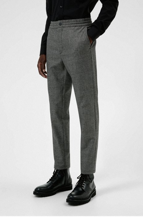 Checked super-flex slim-fit trousers with REPREVE®, Dark Grey