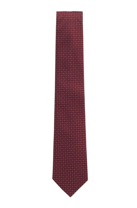 Corbata de jacquard en seda con microdibujo, Rojo