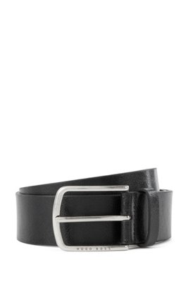 Italian-leather belt with pin buckle in brushed silver, Black