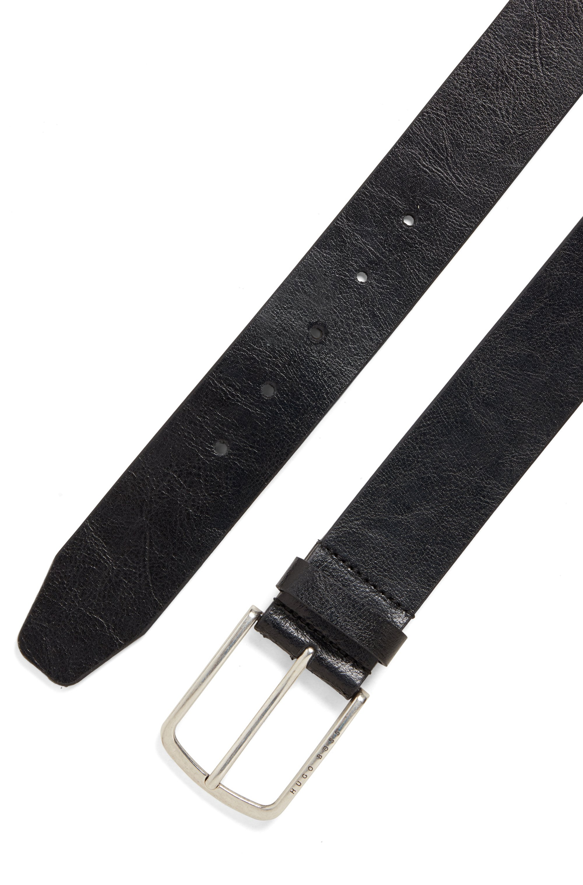 Italian-leather belt with pin buckle in brushed silver