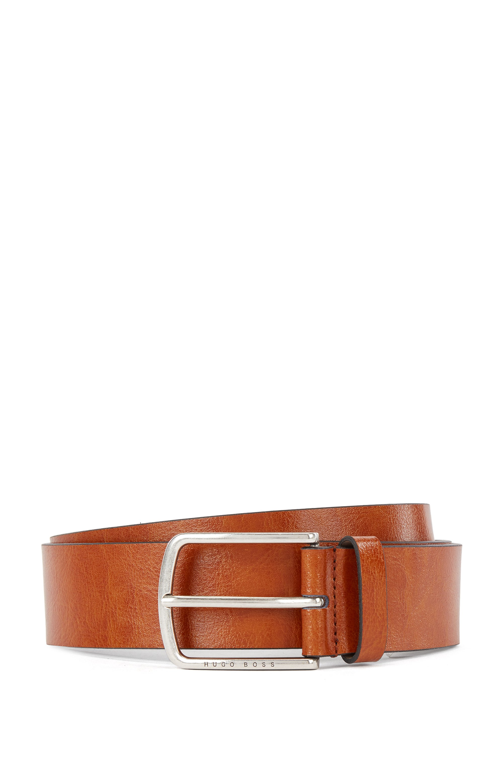 Italian-leather belt with pin buckle in brushed silver, Brown