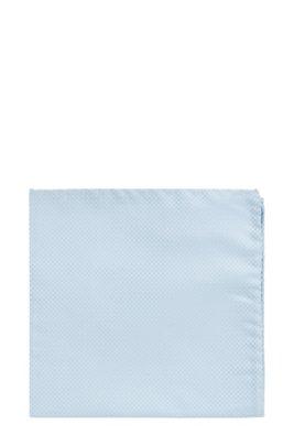 Silk-jacquard pocket square with micro pattern, Light Blue