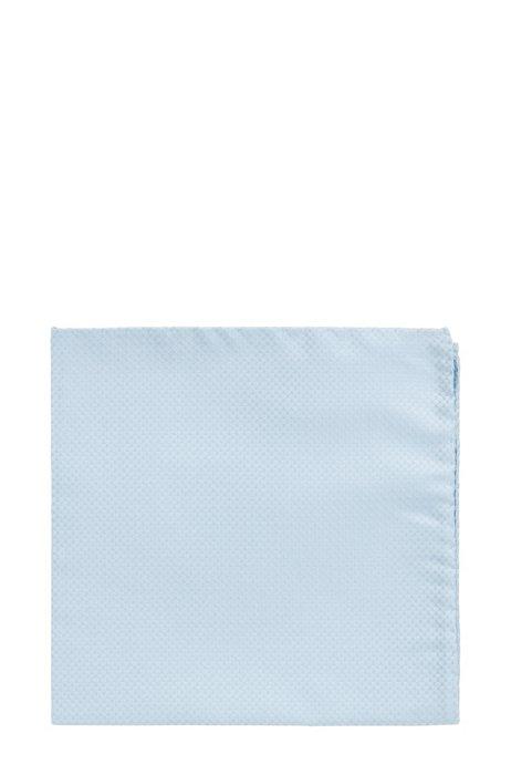 Pochet in een jacquard van zijde met microdessin, Lichtblauw