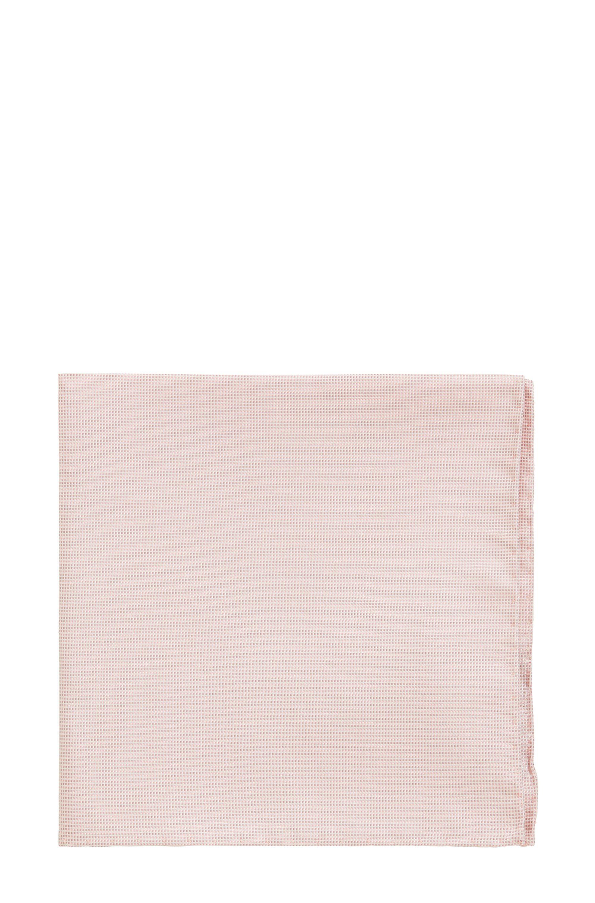 Silk-jacquard pocket square with micro pattern, light pink