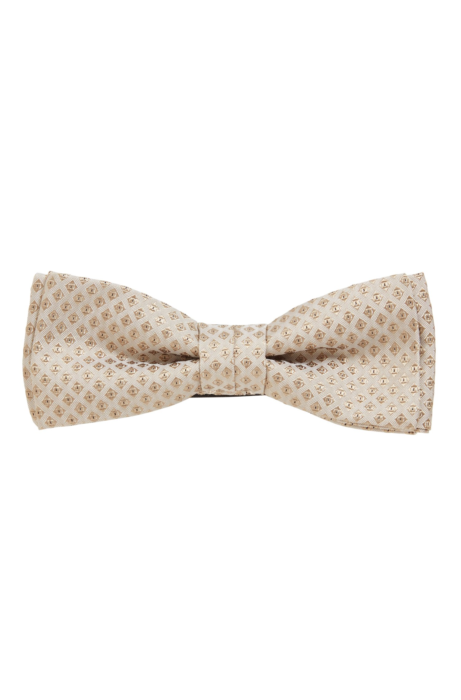 Micro-patterned bow tie in silk jacquard, Beige Patterned