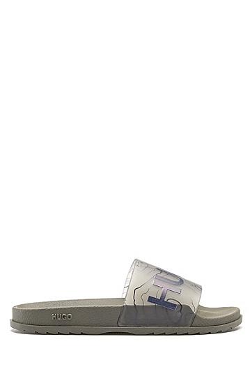 地形艺术图案印花搭配徽标图案的意大利制造拖鞋,  250_Beige/Khaki