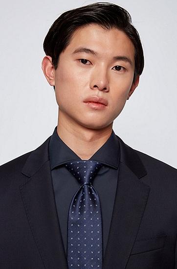 防水真丝提花图案装饰领带,  401_Dark Blue
