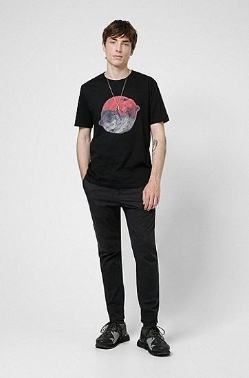 动物艺术图案装饰平纹针织棉质 T 恤,  001_Black