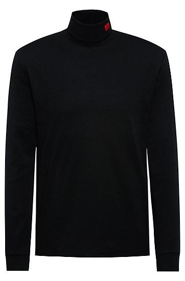 红色徽标标签弹力棉高领 T 恤,  001_Black