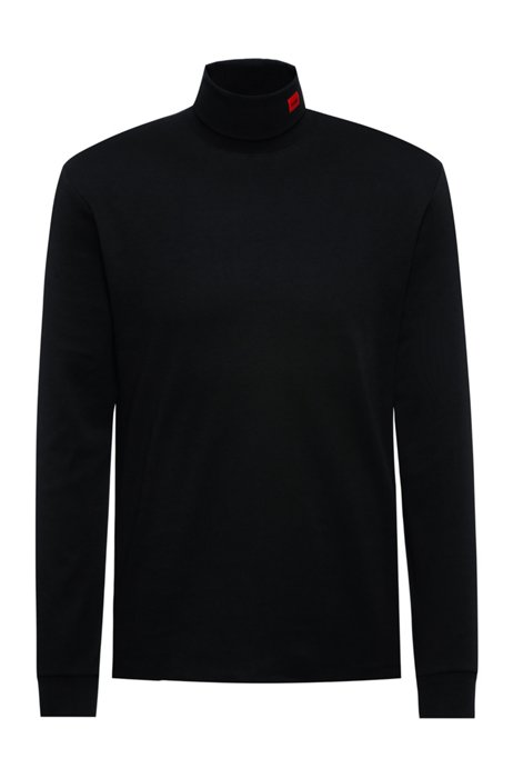 Stretch-cotton turtleneck T-shirt with red logo label, Black