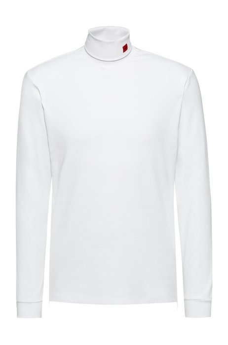Stretch-cotton turtleneck T-shirt with red logo label, White