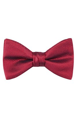 Pre-tied bow tie in silk jacquard, Red Patterned