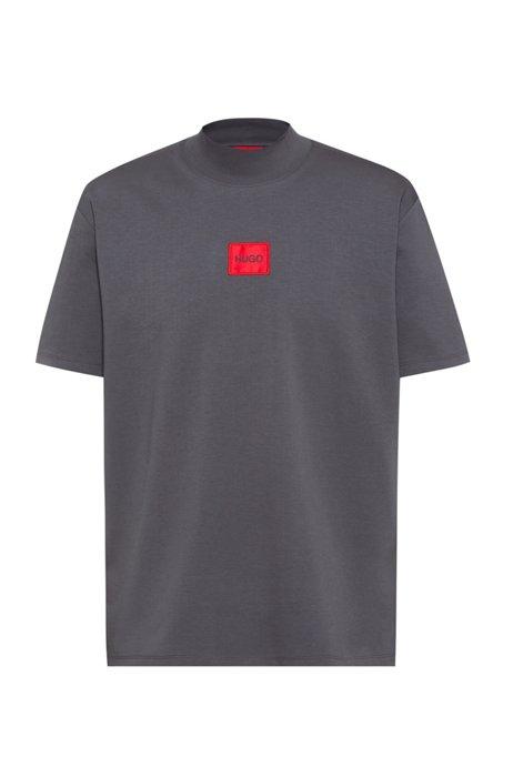T-shirt van stretchkatoen met hoge hals en rood logolabel, Donkergrijs