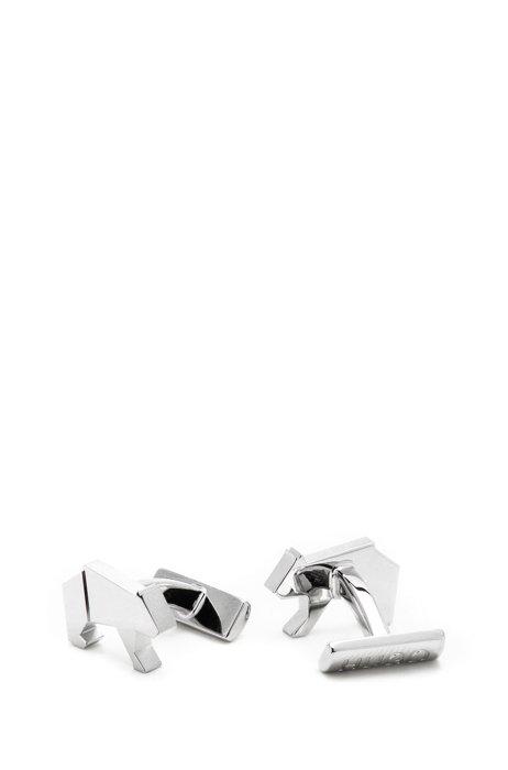 Origami-bear cufflinks in polished brass, Silver